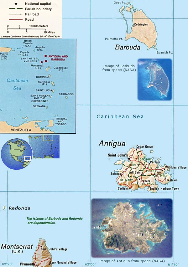 Relief and road map of Antigua and Barbuda. Antigua and Barbuda relief and road map.
