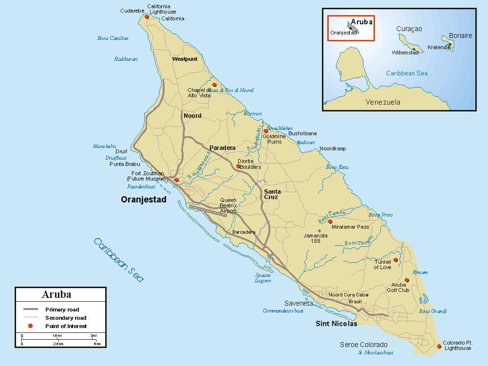 Detailed road map of Aruba Aruba detailed road map Vidianicom