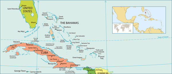 Full political map of Bahamas. Bahamas full political map.