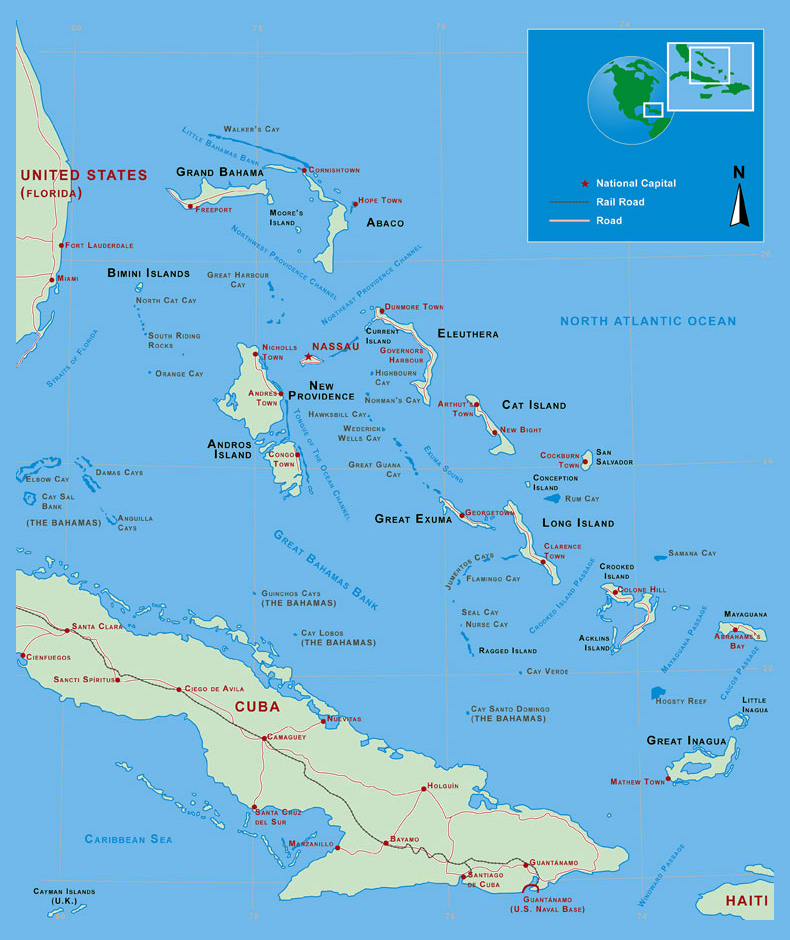 Large detailed political and administrative map of Bahamas Bahamas