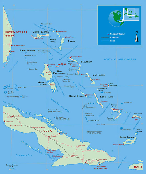 Large detailed political and administrative map of Bahamas.