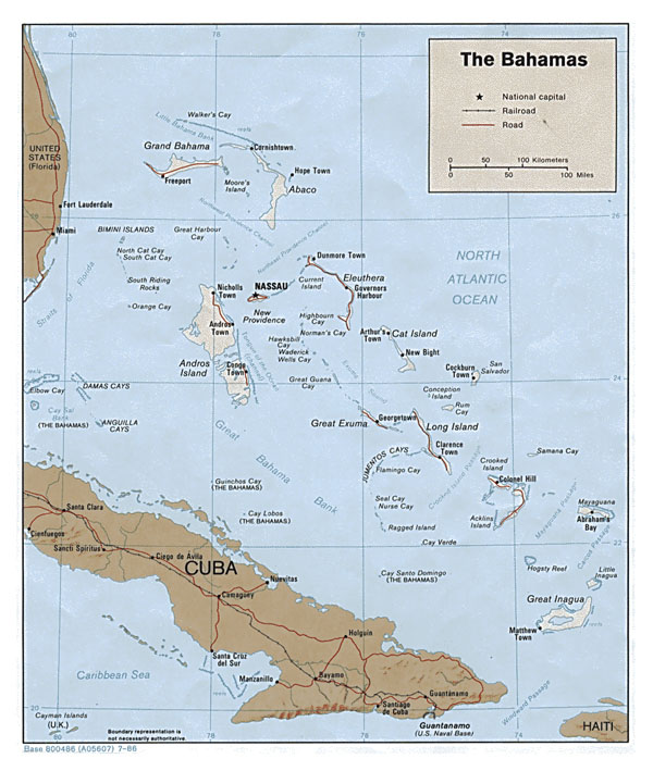 Large detailed political and relief map of Bahamas.