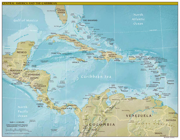 Large detailed political and relief map of Central America and the Caribbean.