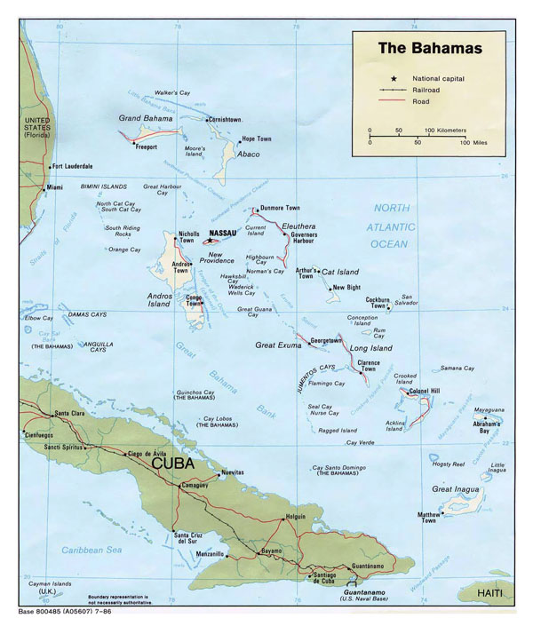 Large detailed political and road map of Bahamas.