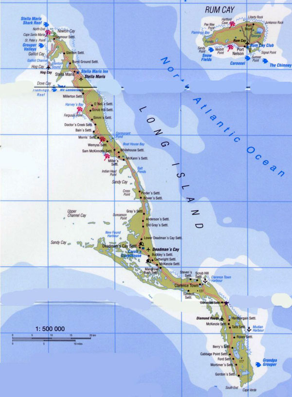 Large detailed tourist map of Long Island in Bahamas.