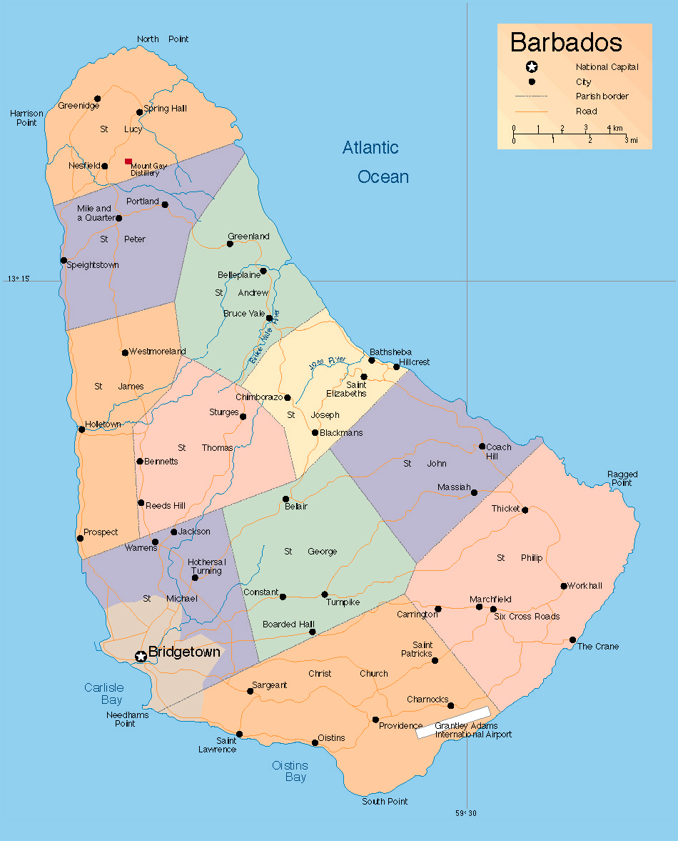 Detailed administrative map of Barbados Barbados detailed
