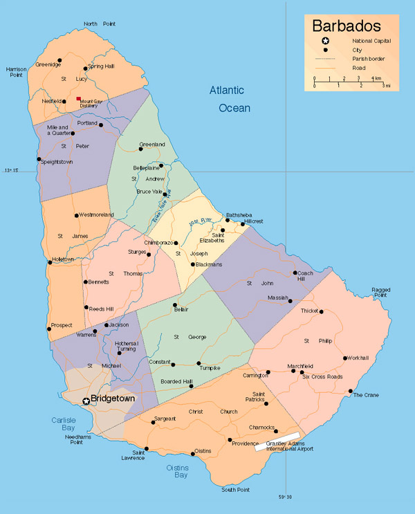 Detailed administrative map of Barbados. Barbados detailed administrative map.