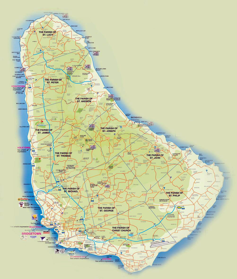 Detailed road and tourist map of Barbados. Barbados detailed road ...