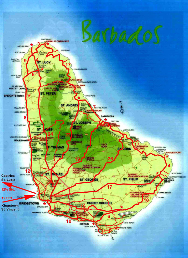 Detailed topographical map of Barbados. Barbados detailed topographical map.