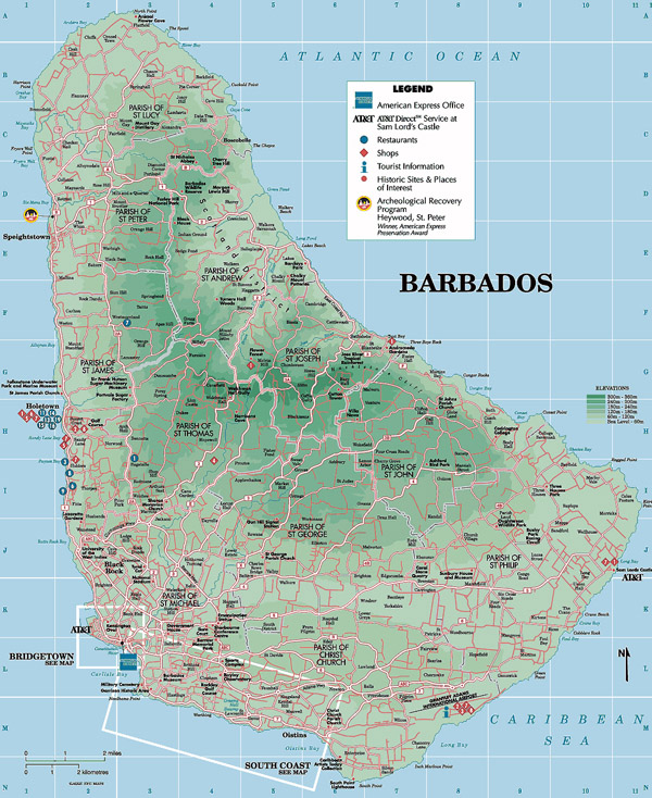 Large detailed physical and tourist map of Barbados.