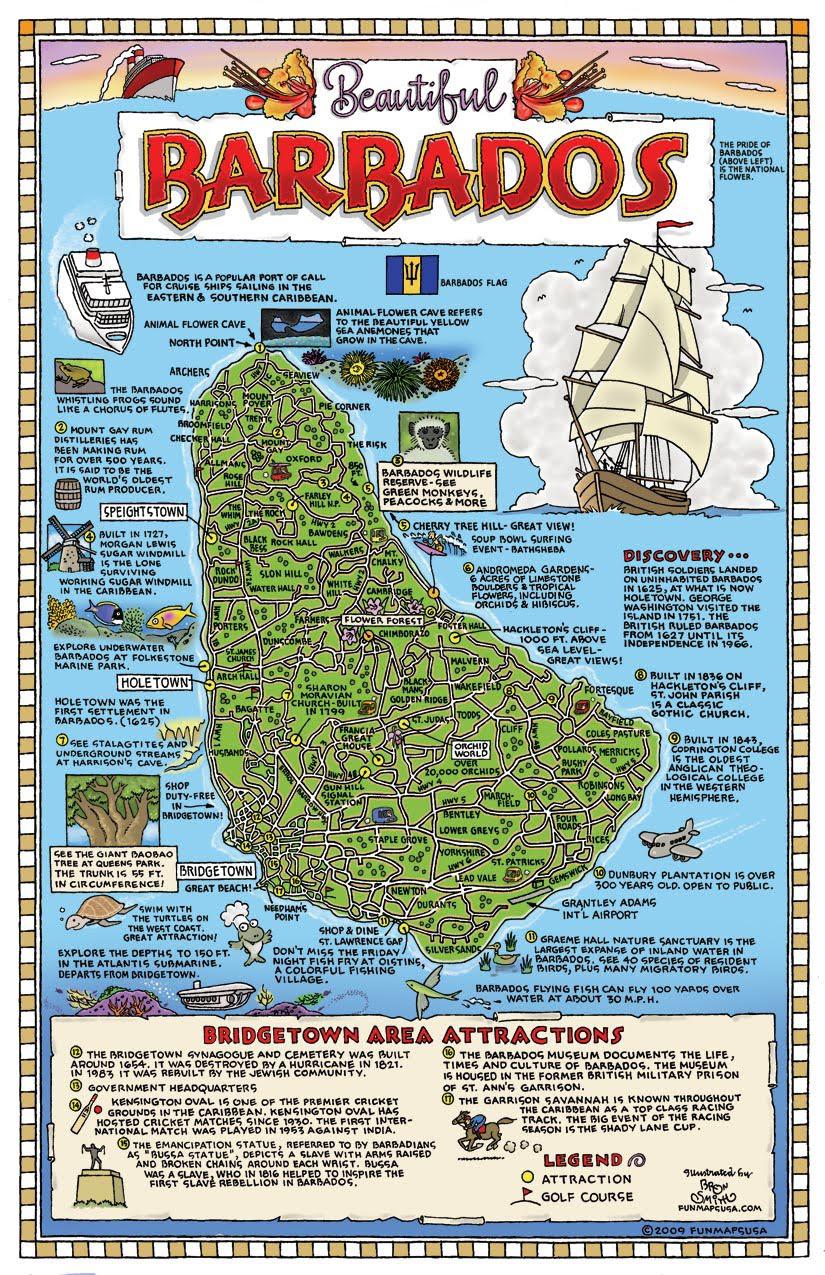 Large detailed tourist map of Barbados. Barbados large ...