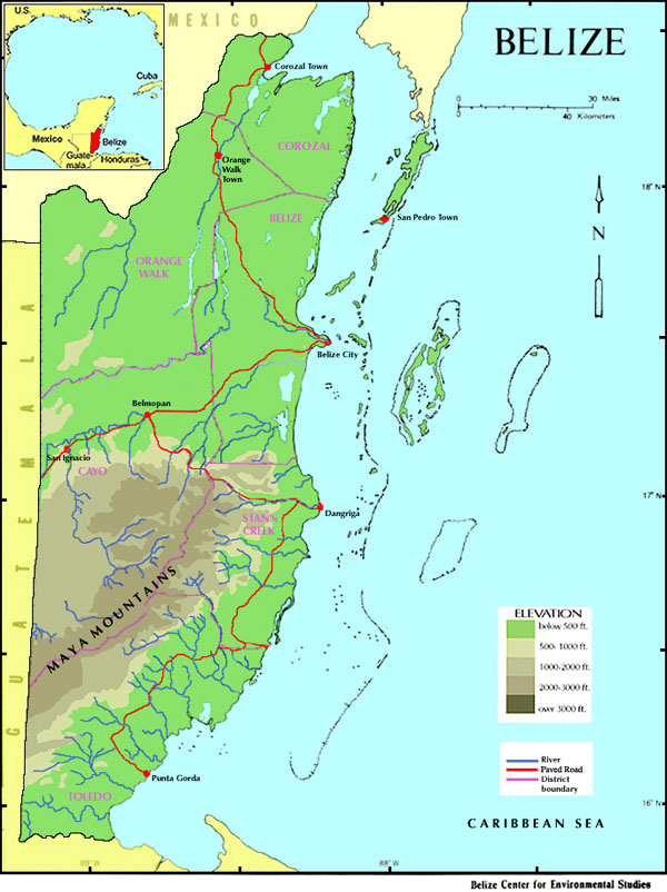 Detailed physical map of Belize. Belize detailed physical map.