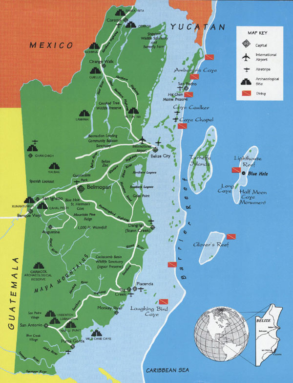Detailed travel map of Belize. Belize detailed travel map.