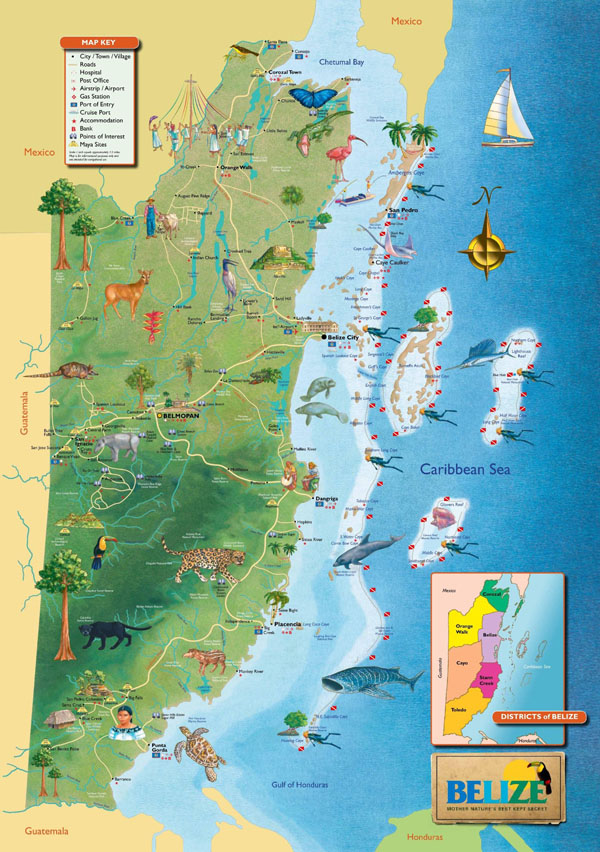 Large detailed tourist map of Belize. Belize large detailed tourist map.