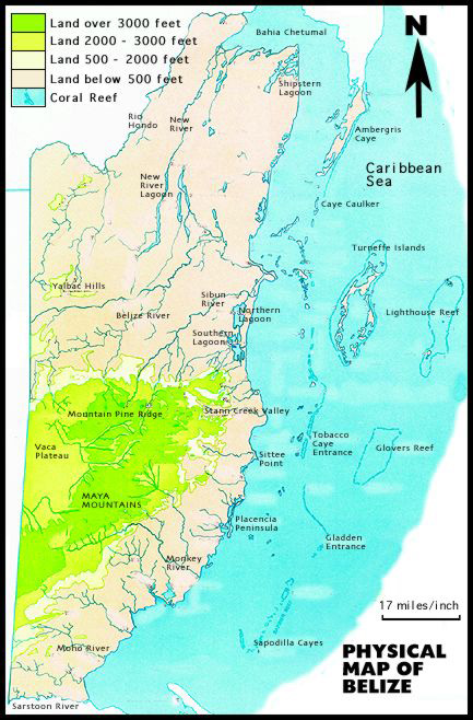 Physical map of Belize. Belize physical map.