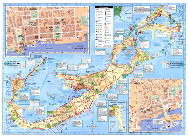 Detailed road and tourist map of Bermuda.