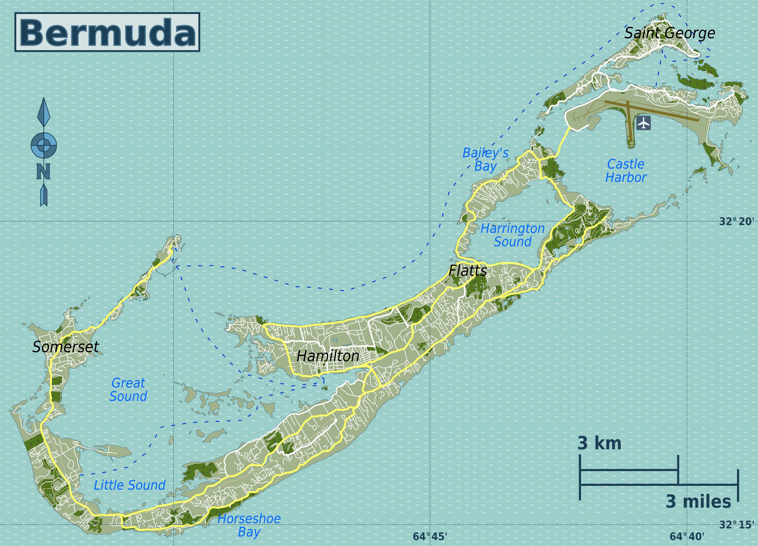 Detailed road map of Bermuda. Bermuda detailed road map | Vidiani ...