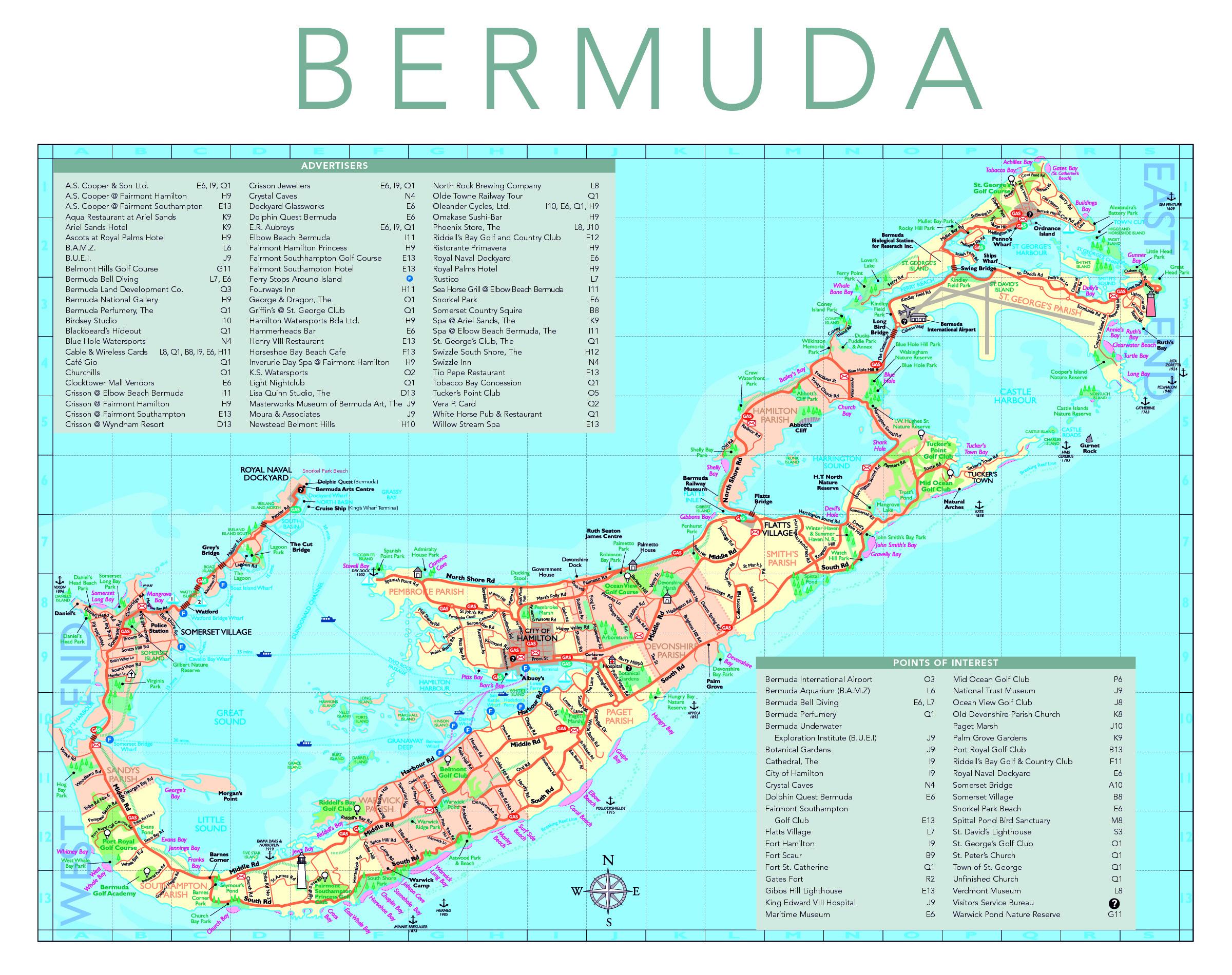 Detailed tourist map of Bermuda Bermuda detailed tourist map – Bermuda Tourist Map