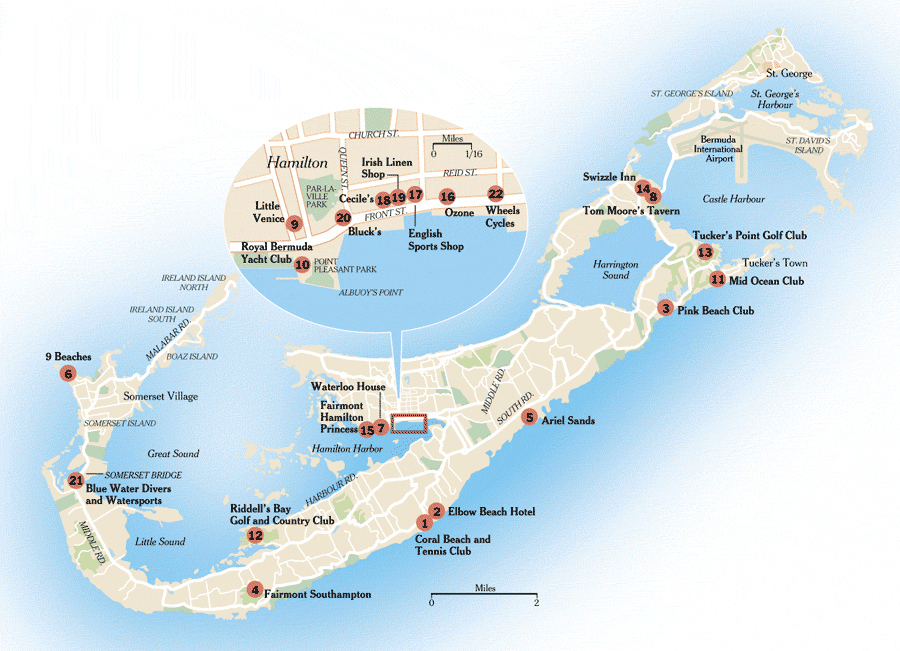 Large detailed road and travel map of Bermuda. Bermuda large ...