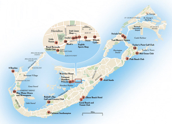 Large detailed road and travel map of Bermuda.