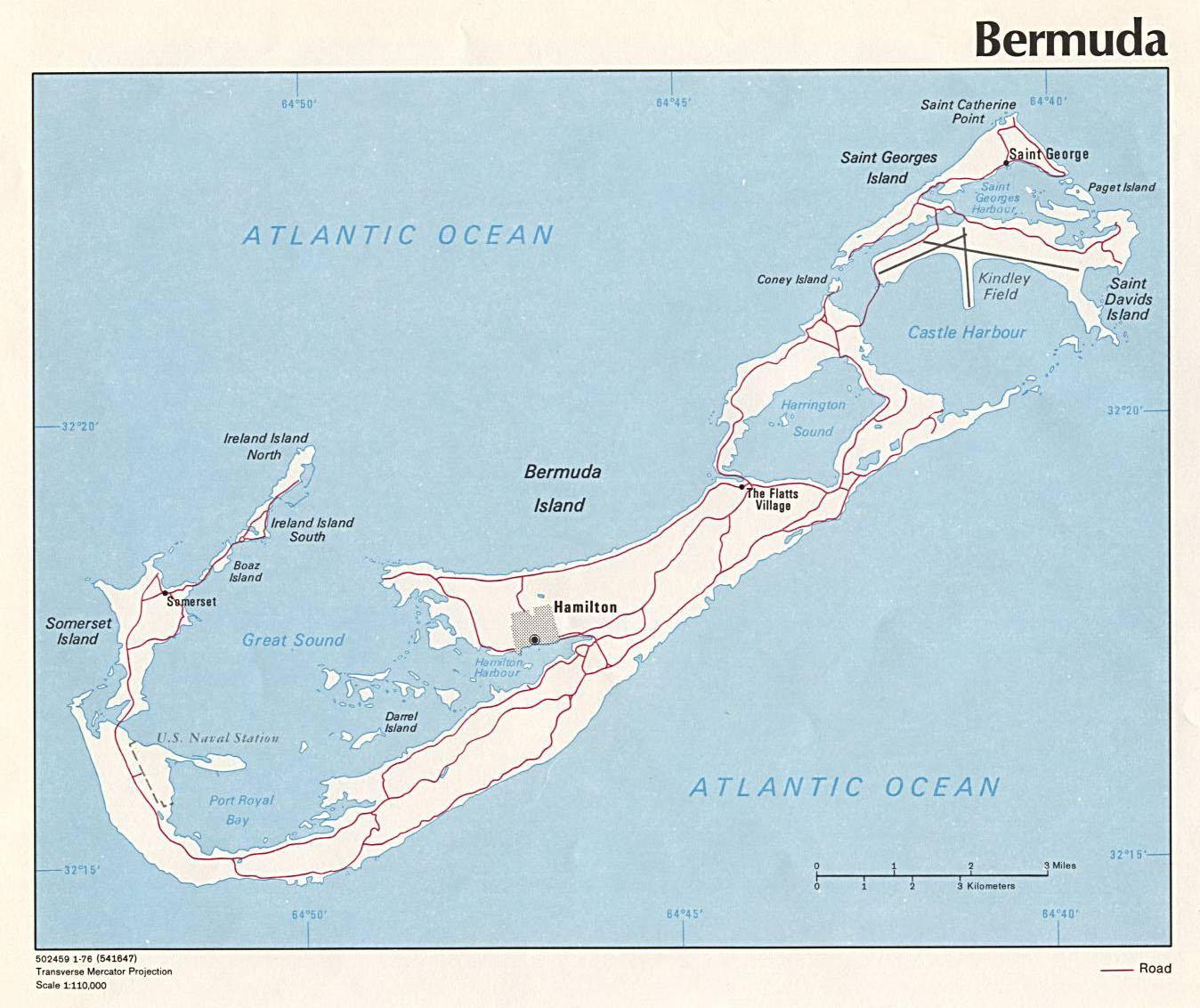 Large detailed road map of Bermuda. Bermuda large detailed road map on