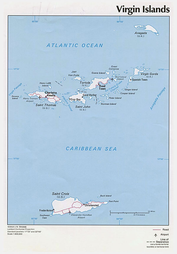 Detailed political map of British Virgin Islands.