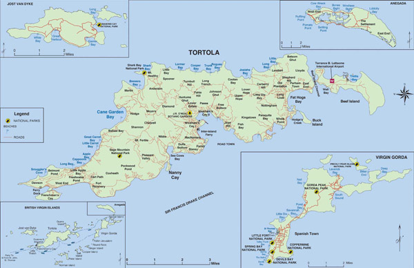 Large detailed map of Tortola British Virgin Islands.