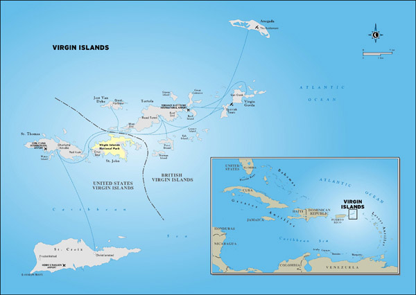 Large detailed political map of British Virgin Islands.