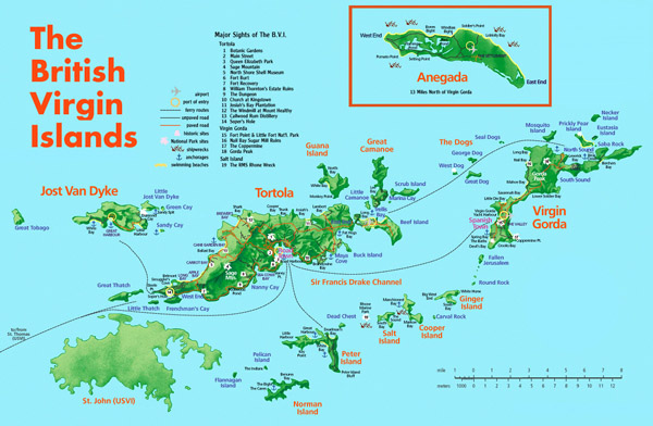 Large detailed road and tourist map of British Virgin Islands.