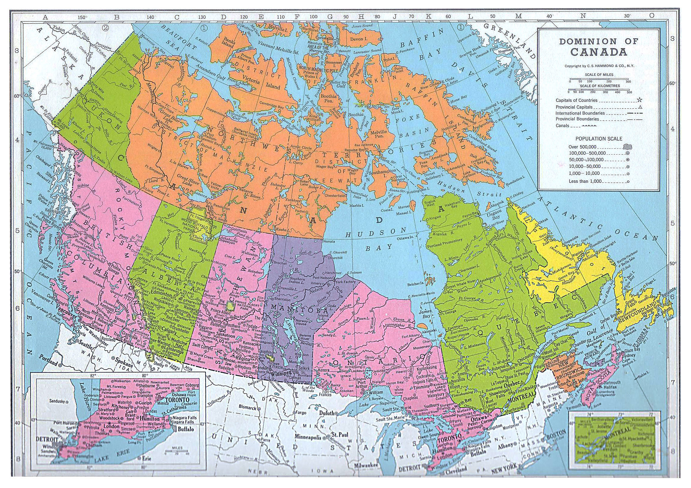 detailed old political and administrative map of canada