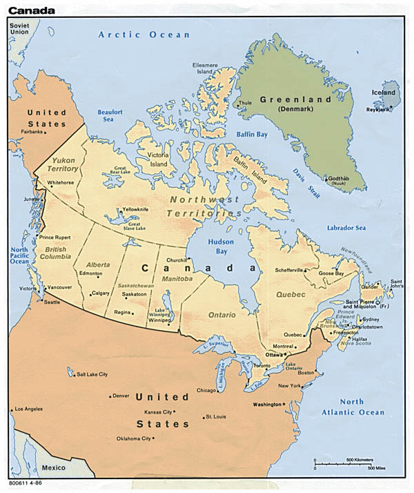 Detailed political map of Canada. Canada detailed political map.
