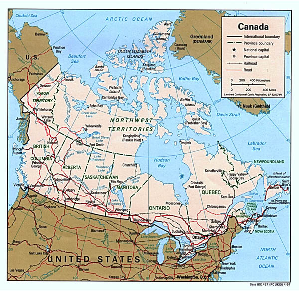 Detailed political map of Canada with administrative divisions, roads and major cities.