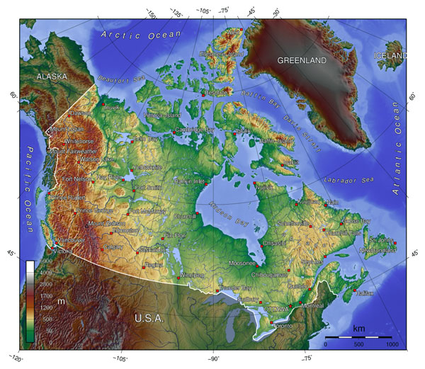 Detailed topographical map of Canada. Canada detailed topographical map.