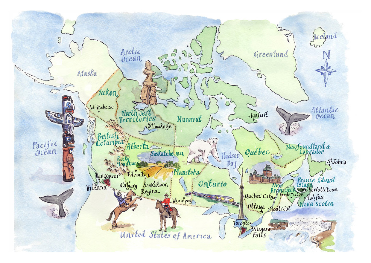 detailed tourist illustrated map of canada