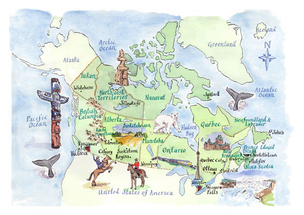 Detailed tourist illustrated map of Canada.