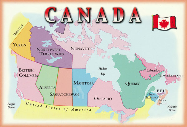 Large administrative map of Canada. Canada large administrative map.