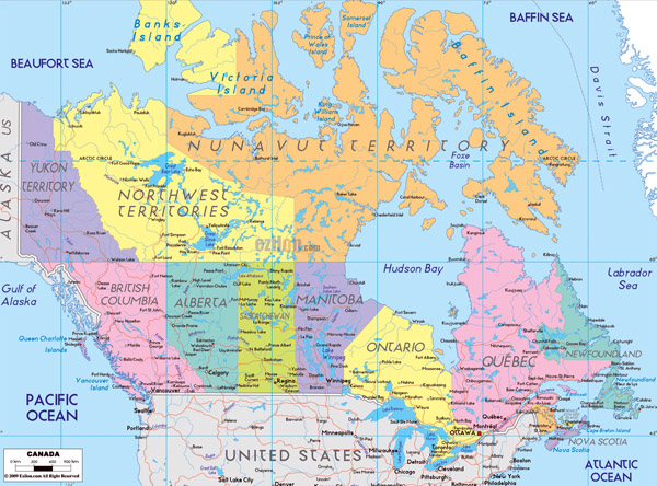 Large detailed administrative map of Canada. Canada large detailed administrative map.