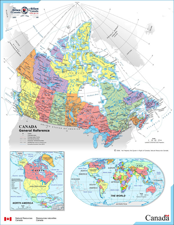 Large detailed full political and administrative map of Canada.