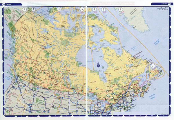 Large detailed highways map of Canada with time zones.