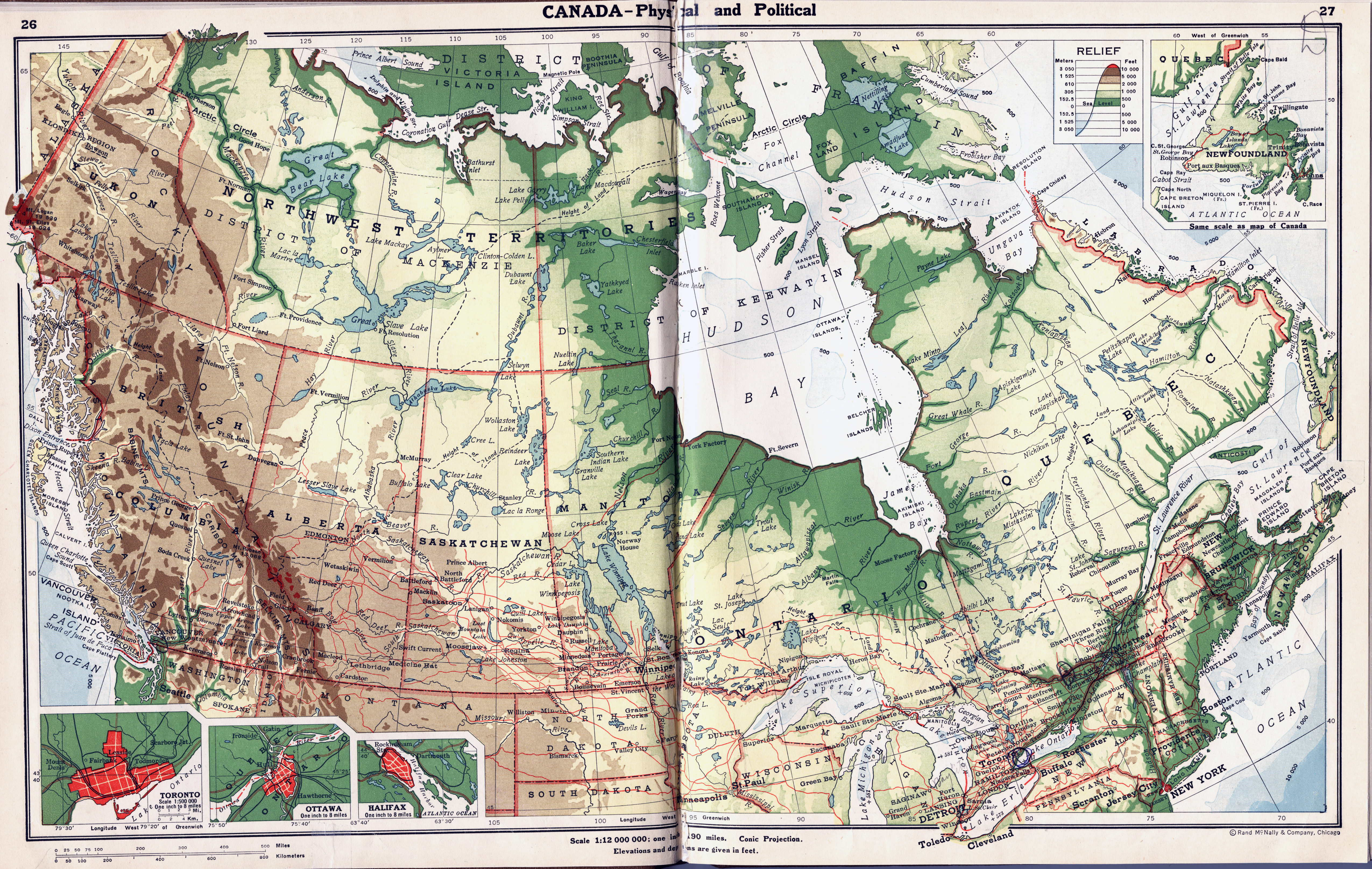 Large Detailed Old Physical And Political Map Of Canada Vidiani - Detailed map of usa and canada