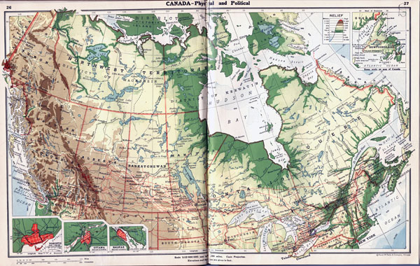 Large detailed old physical and political map of Canada.