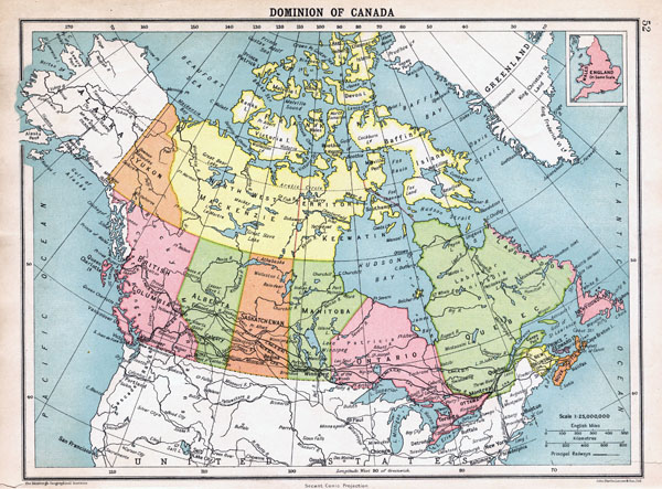Large detailed old political and administrative map of Canada - 1922.