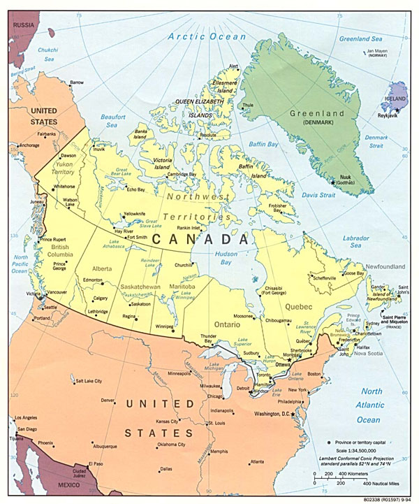 Large detailed political and administrative map of Canada.