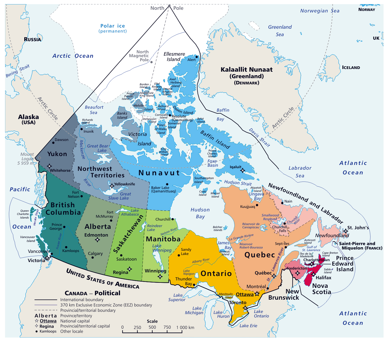 Large Detailed Map Of Canada Large detailed political and administrative map of Canada with