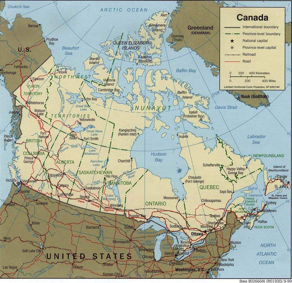 large detailed political map of canada canada large detailed political map