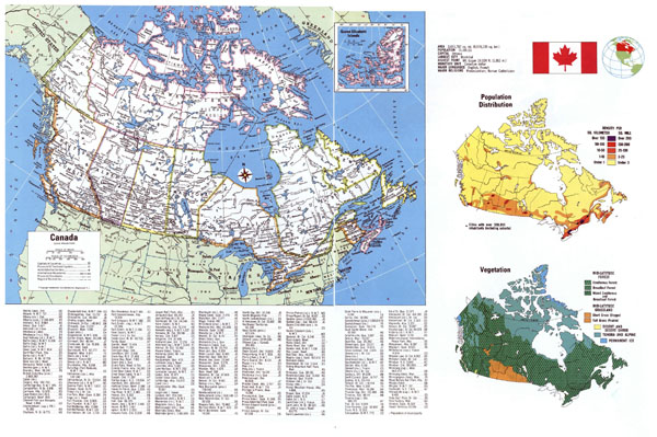 Large detailed political map of Canada with all cities.