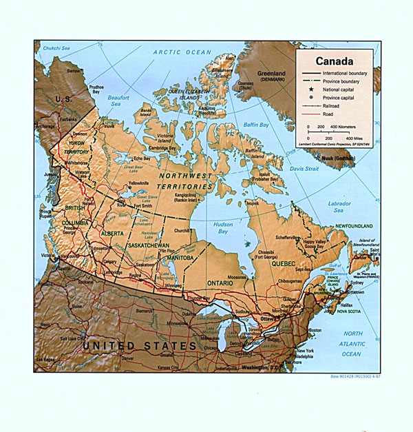 Large detailed relief and administrative map of Canada.