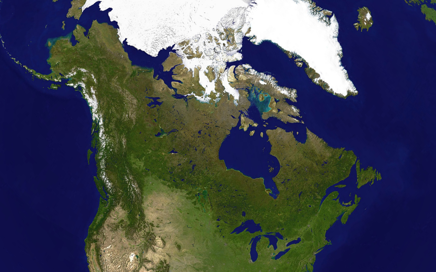 Large Detailed Satellite Map Of Canada Canada Large Detailed - World satellite map with countries