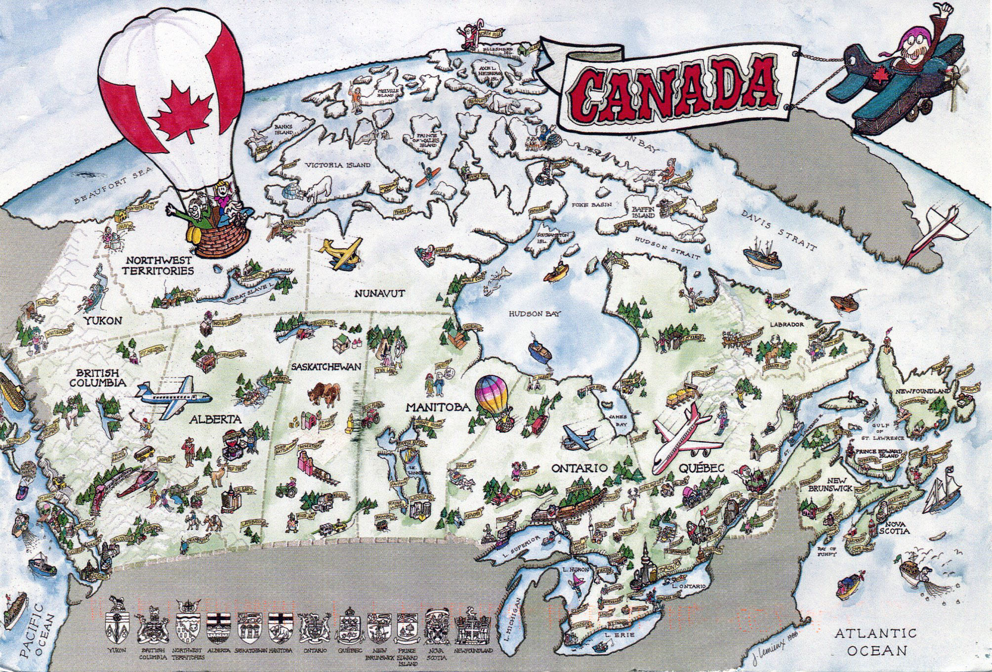 large detailed tourist illustrated map of canada