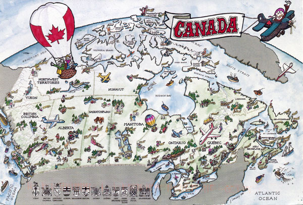 Large detailed tourist illustrated map of Canada.
